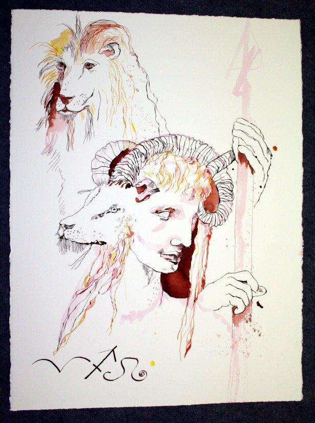 Feuerzeichen - Zeichnung von Susanne Haun - Tusche auf Leonardo Bütten - 80 x 60 cm
