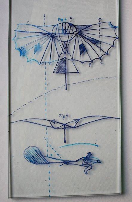 Lilienthal Gleiter - Zeichnung auf Glas von Susanne Haun