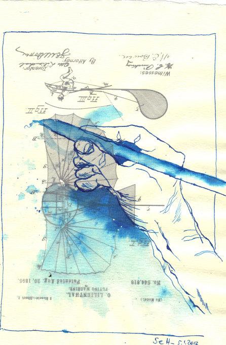 Rechnen! - ÜberZeichnung von Susanne Haun - Tusche auf Bütten - 30 x 20 cm