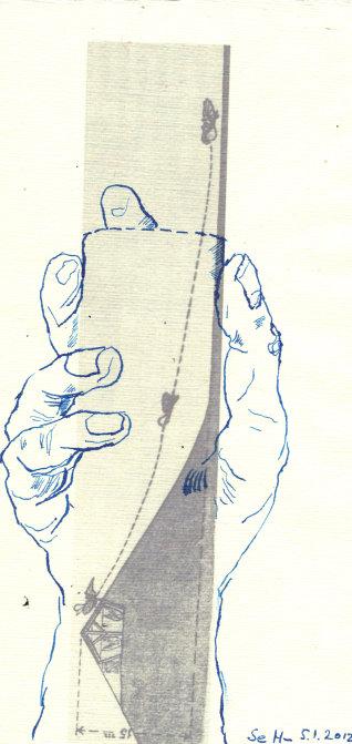 Ein Prost auf den Traumberg - ÜberZeichnung von Susanne Haun - Tusche auf Bütten - 30 x 20 cm