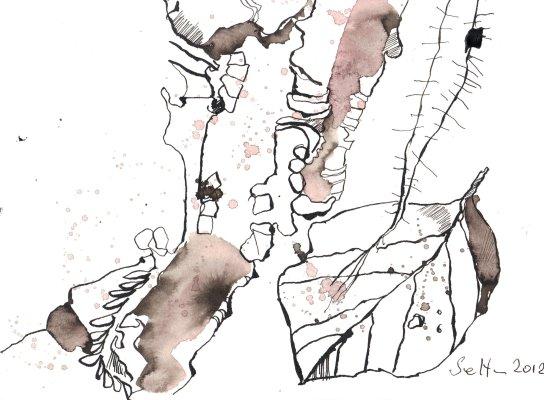 Kalter Felsboden - Zeichnung von Susanne Haun - Tusche auf Burgund Bütten - 17 x 22 cm