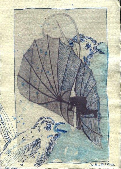 Zaunkönig 2 - ÜberZeichnung von Susanne Haun - 30 x 20 cm - Tusche auf Bütten