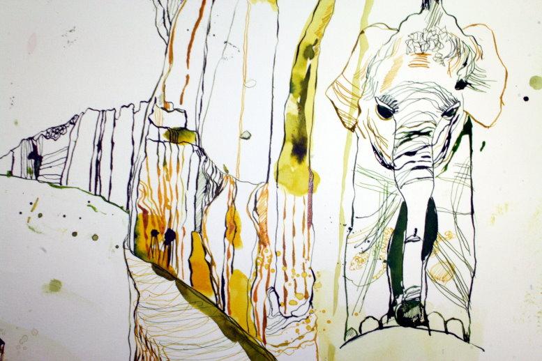Ausschnitt Elefant im Berg - Eldorado (c) Zeichnung von Susanne Haun
