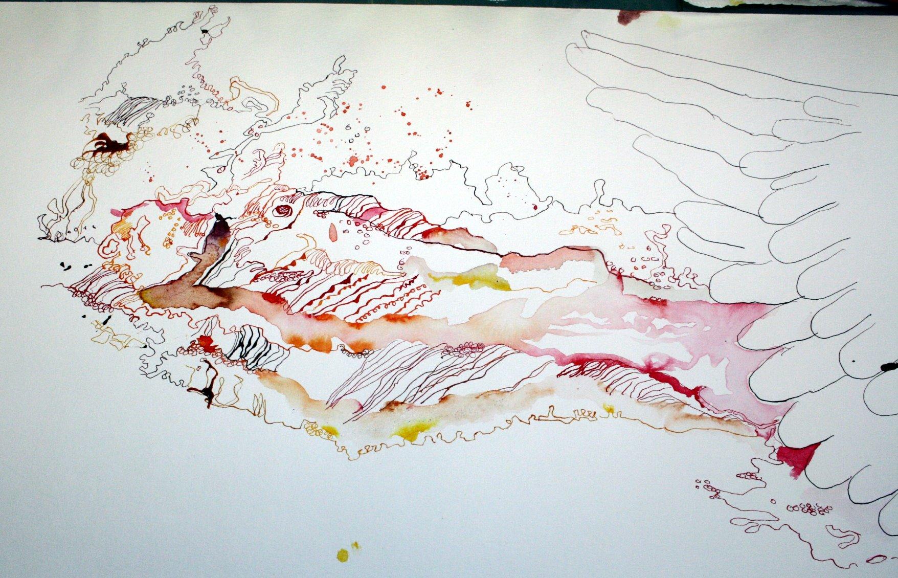 Eine Welle und Fische auf der 2. Rolle (c) Zeichnung von Susanne Haun