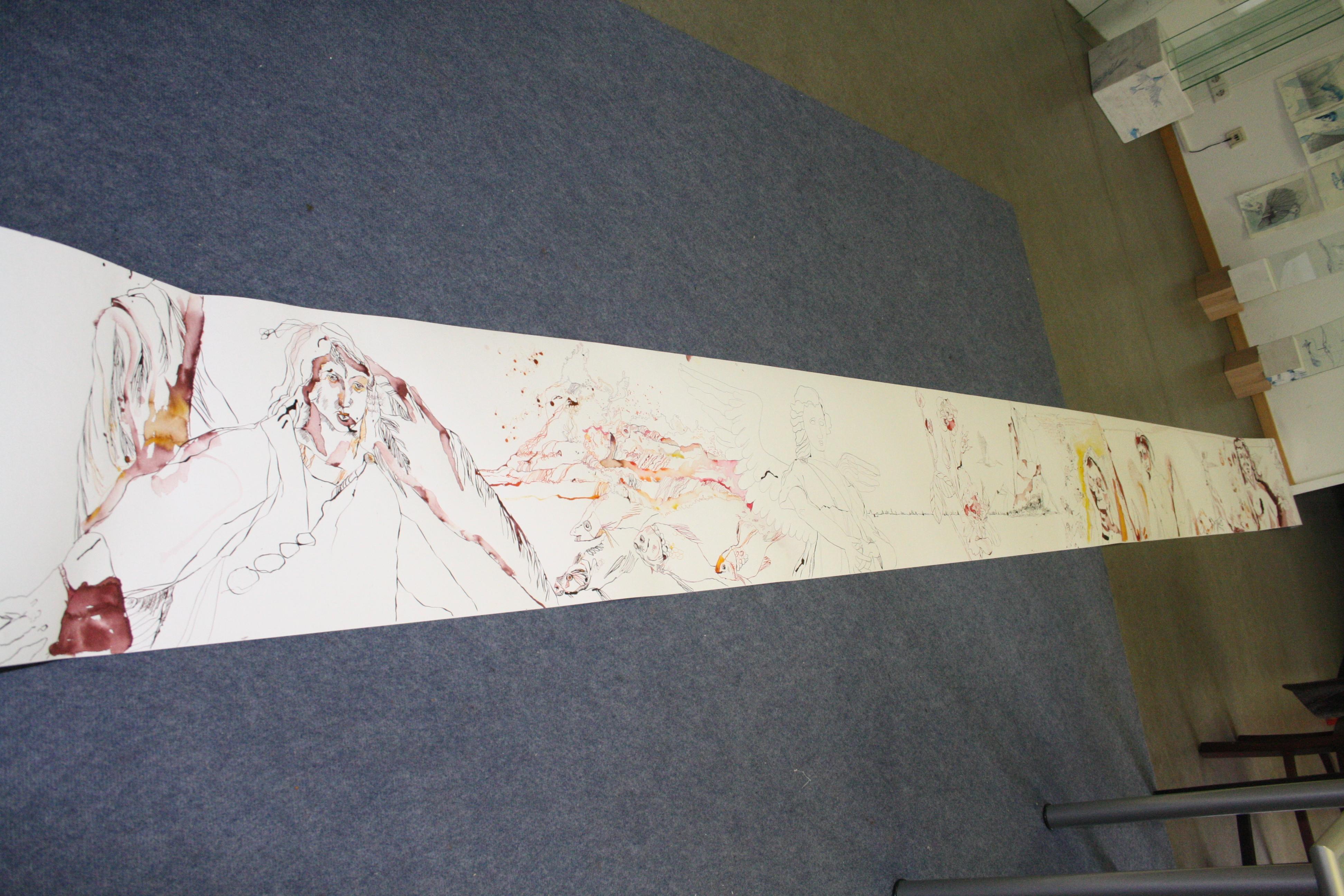 Ich bin bei Meter 4 von meinem Projekt Henoch (c) Zeichnung von Susanne Haun