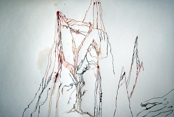 Ausschnitt 2. Rolle Drei Berge im Osten (c) Zeichnung von Susanne Haun