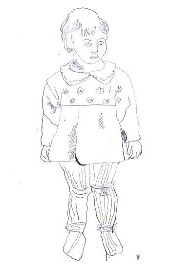 Selbst als 5jährige Version 1 (c) Zeichnung von Susanne Haun