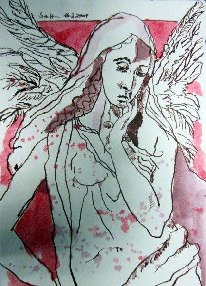 Schutzengel II 15 x 20 cm, Tusche auf Bütten (c) Zeichnung von Susanne Haun