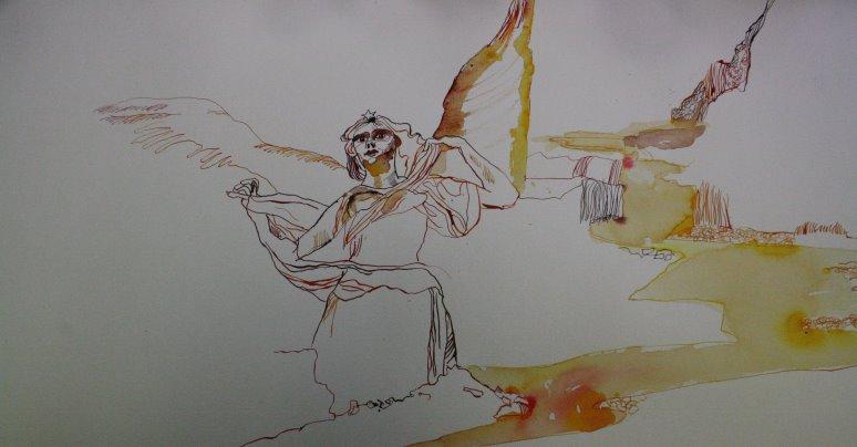 Uriels Flügel und weiterführung der Schlucht (c) Zeichnung von Susanne Haun
