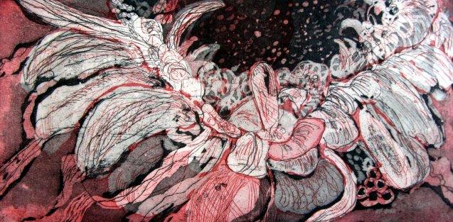 Gerbera 15 x 30 cm Aquatinta Radierung von zwei Platten (c) Susanne Haun