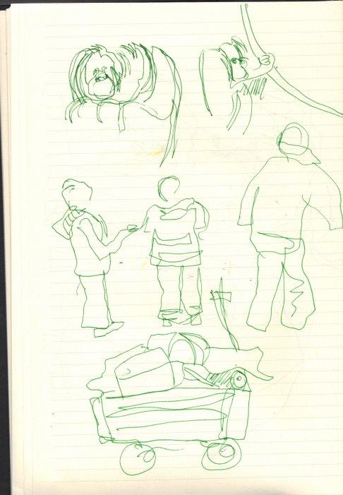 Vor den Orang Utha Käfig (c) Skizze von Susanne Haun