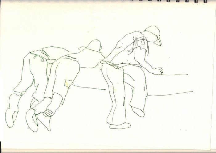 Einhüllende Linien am Neptunbrunnen (c) Zeichnungen von Susanne Haun