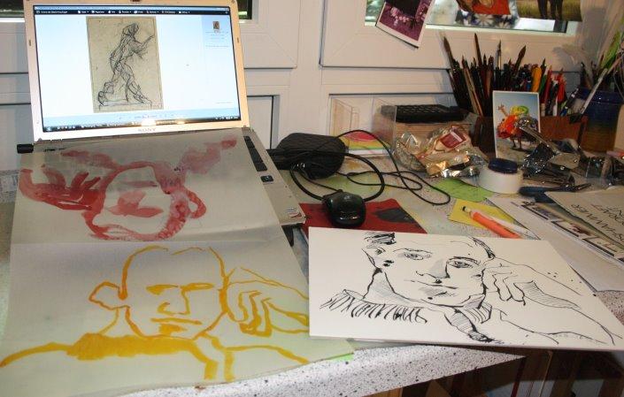 Entstehung Portrait Boccioni (c) Foto von Susanne Haun