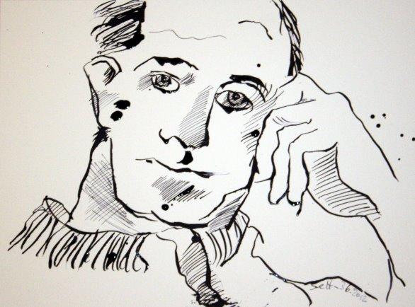 Portrait Boccioni 34 x 21 cm Tusche auf Bütten (c) Zeichnung von Susanne Haun