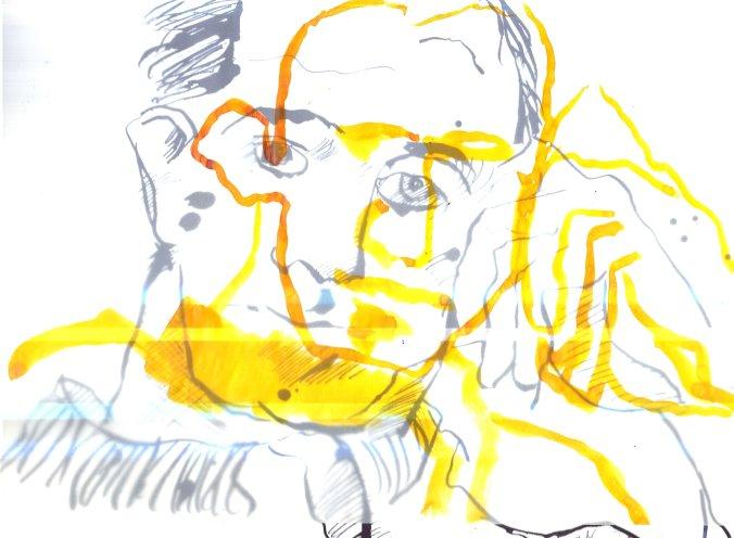 Überlagerung gelb Boccioni (c) Zeichnung von Susanne Haun