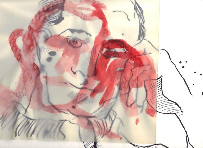 Überlagerung rot Boccioni (c) Zeichnung von Susanne Haun