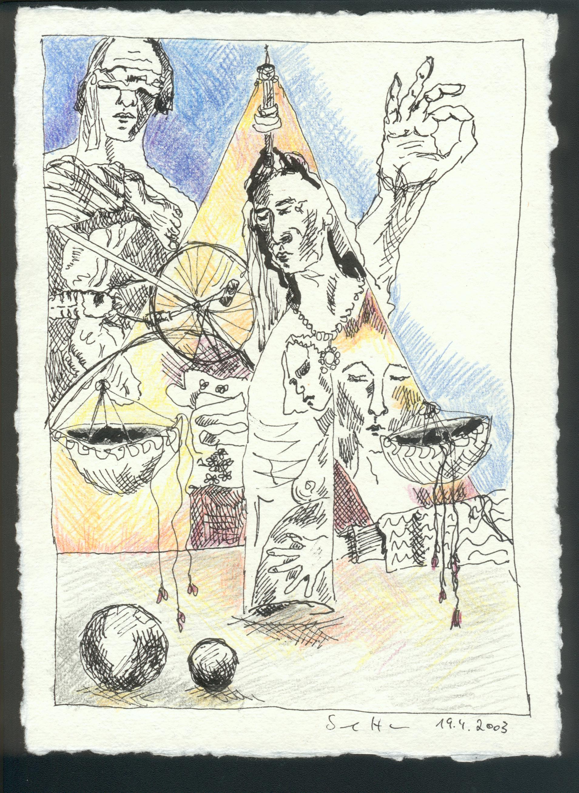 Entscheiden verlangt Mut, 20 x 15 cm, Rapidograph und Buntstift auf Bütten (c) Zeichnung von Susanne Haun
