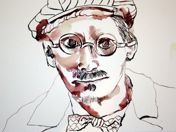 Entstehung meines Sinnbildes von James Joyce (c) Zeichnung von Susanne Haun