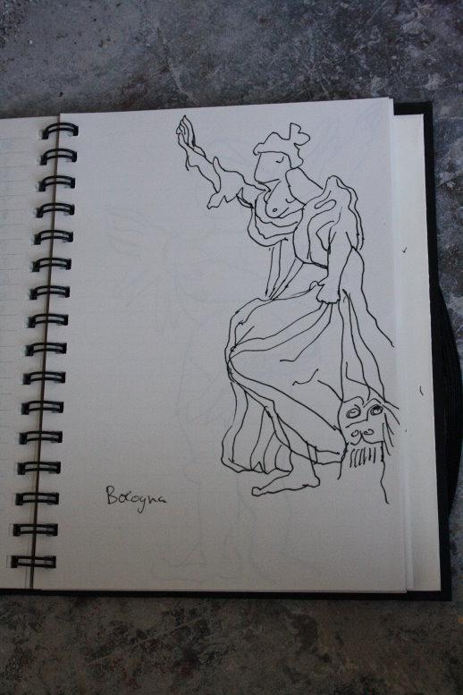 Skulptur im Palast Archiginnasio (c) Zeichnung von Susanne Haun (2)