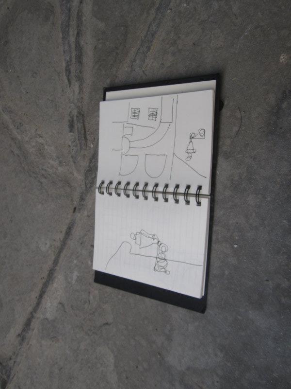 Die ersten Eindrücke halte ich gleich fest (c) Skizzen von Susanne Haun
