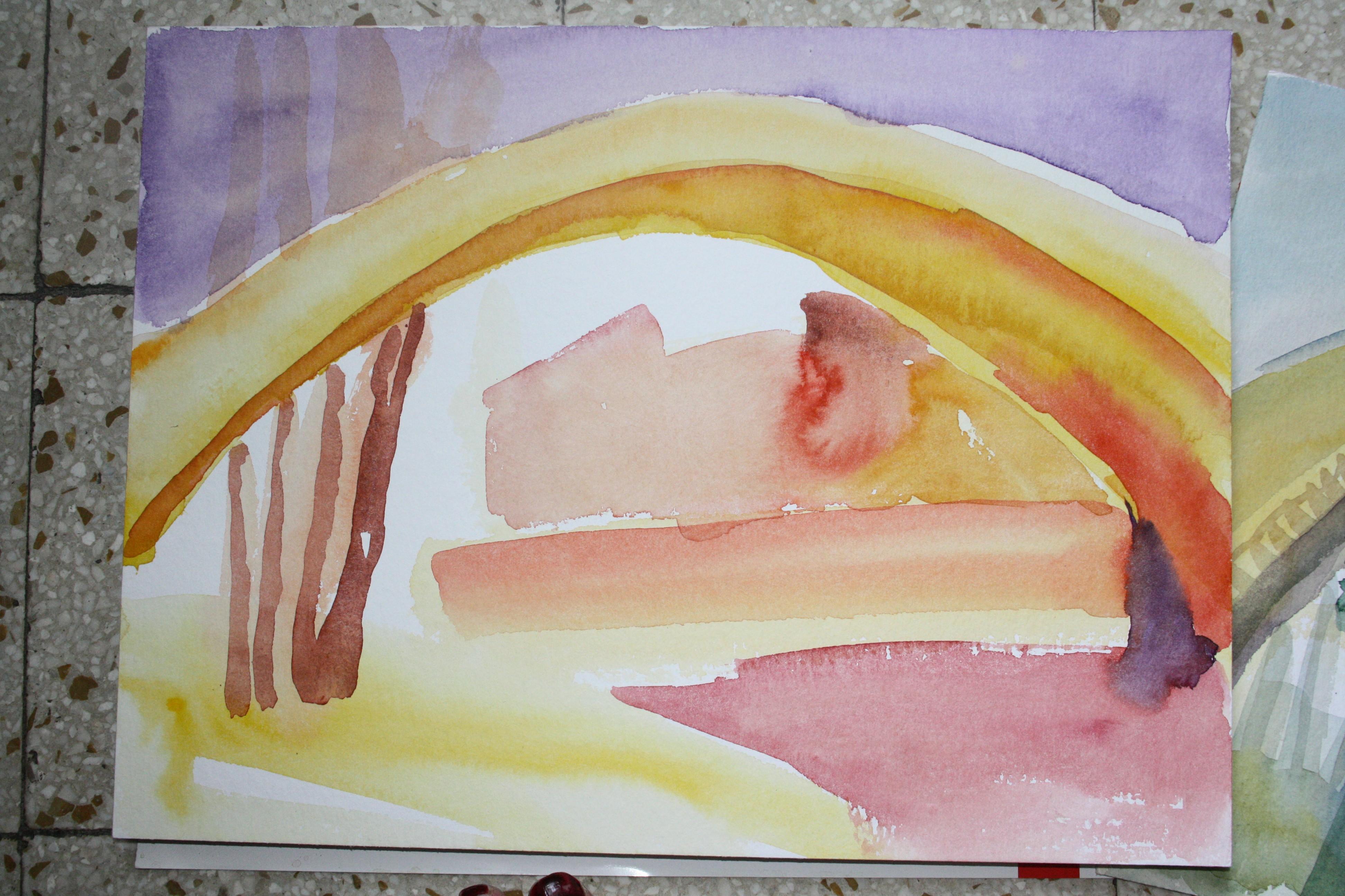 Die Brücke mit kräftigen Farben schnell gemalt (c) Susanne Haun