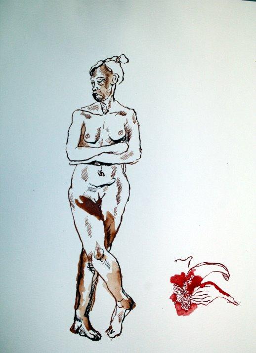 Eine alternde weise Eva zu zeichnen ist nicht leicht (c) Zeichnung von Susanne Haun