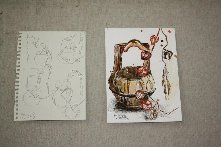 Im Atelier zurück schauen wir auf die Arbeit der vergangenen Woche (c) Foto von Susanne Haun