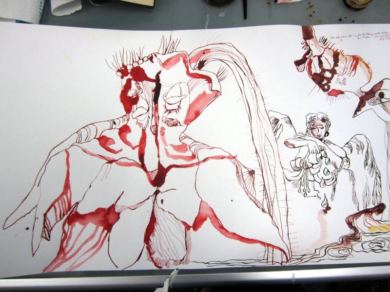 Ein kleiner Engel zwischen den Blüten (c) Zeichnung Susanne Haun