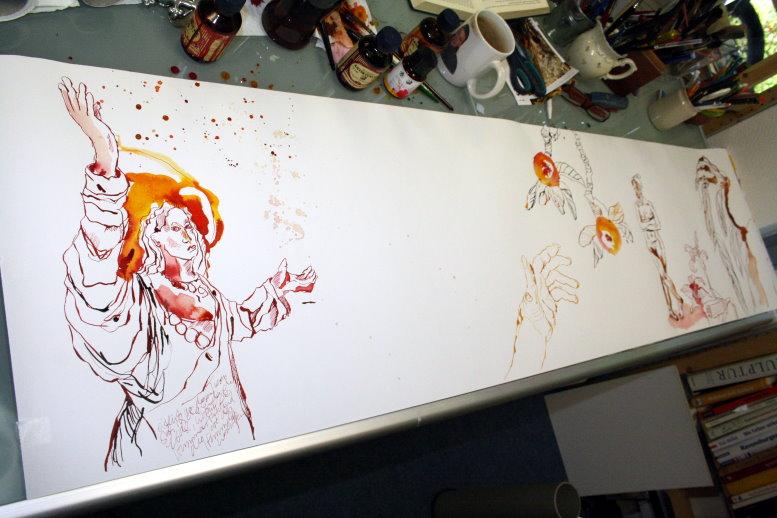 Nur noch eine kleine Lücke ist von der 10 Meter Rolle übrig (c) Zeichnung von Susanne Haun
