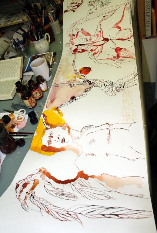 Detail aus 10 Meter Das Buch Henoch (c) Zeichnung von Susanne Haun