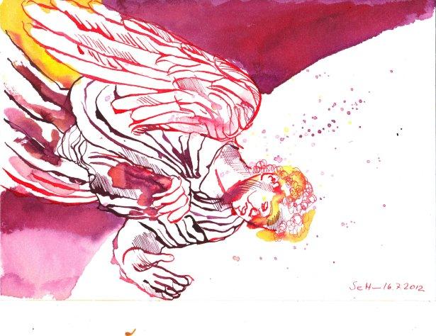 Stehender flliegender Engel 17 x 22 cm Tusche auf Bütten (c) Zeichnung von Susanne Haun