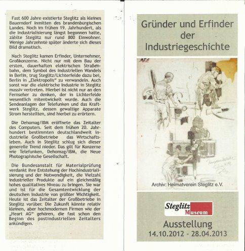 Beschreibung Industrie Museum Steglitz