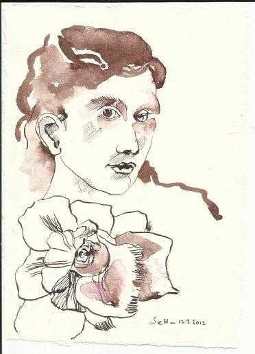 Der Nachgedanke Version 3 Tusche auf Bütten 20 x 15 cm (c) Zeichnung von Susanne Haun