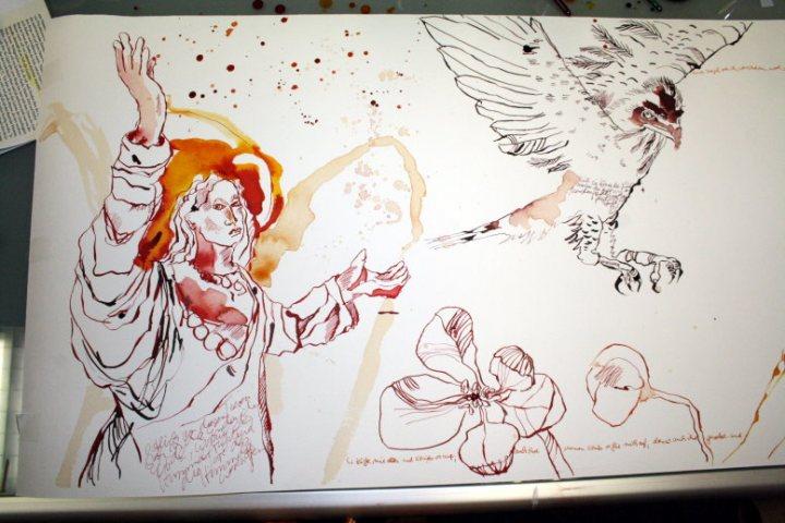 Ausschnitt aus Rolle mit Henoch Zeichnung von (c) Susanne Haun