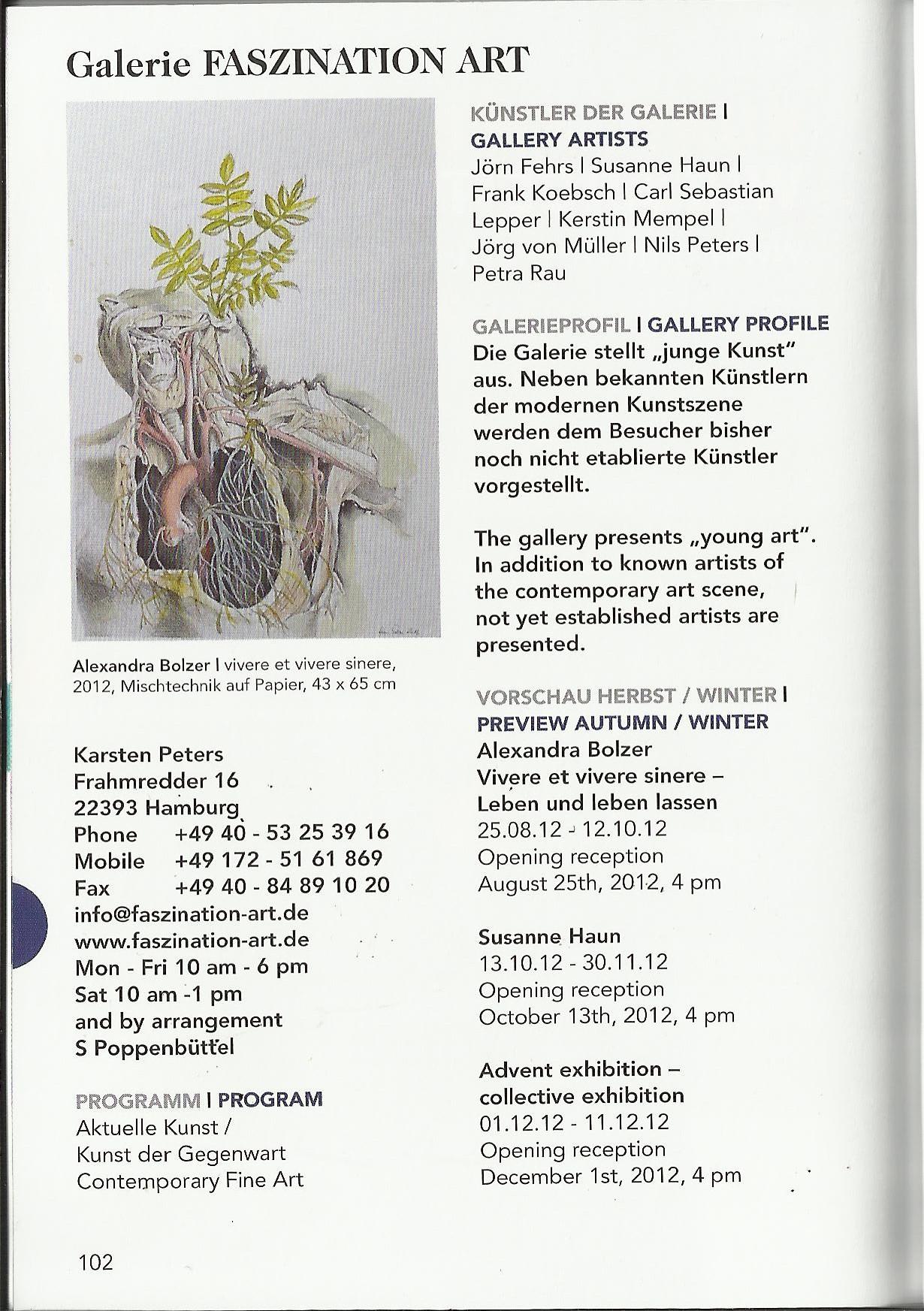 Galerien in Hamburg - Auszug Galerie Faszination Art