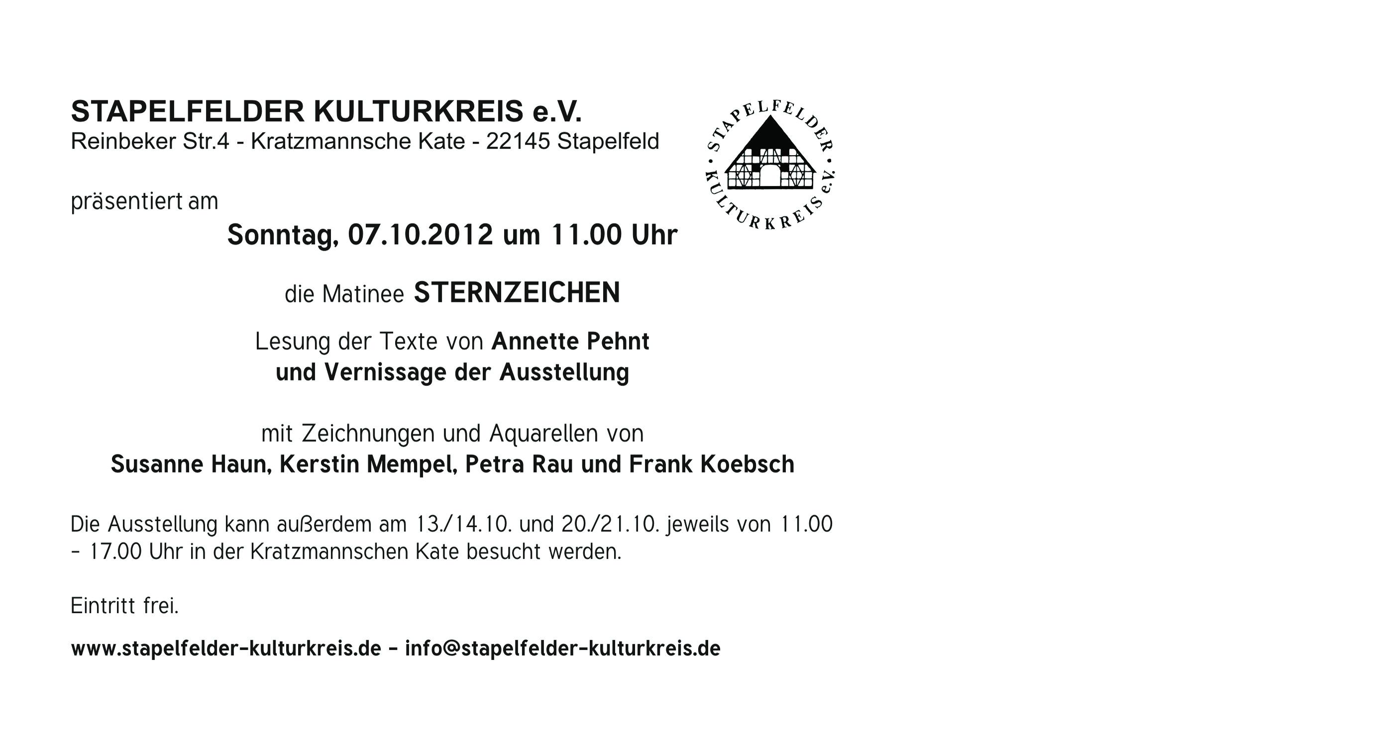 Ausstellung Sternzeichen im Stapelfelder Kulturkreis e.V.