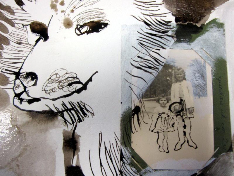Detail Blatt 3 Im Zoo mit G. - 25 x 25 cm (c) Collage von Susanne Haun