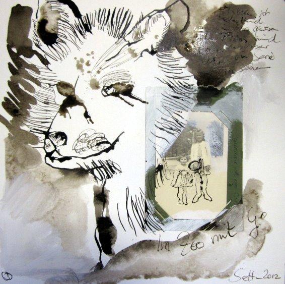 Blatt 3 Im Zoo mit G. - 25 x 25 cm (c) Collage von Susanne Haun