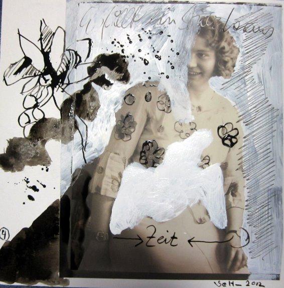Blatt 4 Die Zeit - 25 x 25 cm (c) Collage von Susanne Haun
