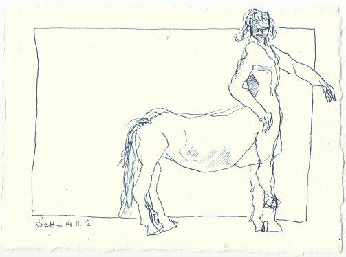 Blatt 49 Den Zentauren, der mich auf den Rücken nehmen wollte (c) Zeichnung von Susanne Haun