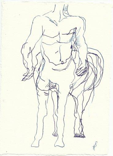 Blatt 51 Den Zentauren, der mich auf den Rücken nehmen wollte (c) Zeichnung von Susanne Haun