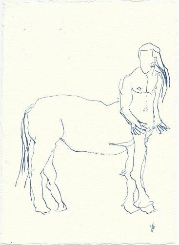 Blatt 52 Den Zentauren, der mich auf den Rücken nehmen wollte (c) Zeichnung von Susanne Haun