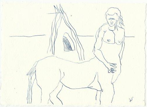 Blatt 53 Den Zentauren, der mich auf den Rücken nehmen wollte (c) Zeichnung von Susanne Haun