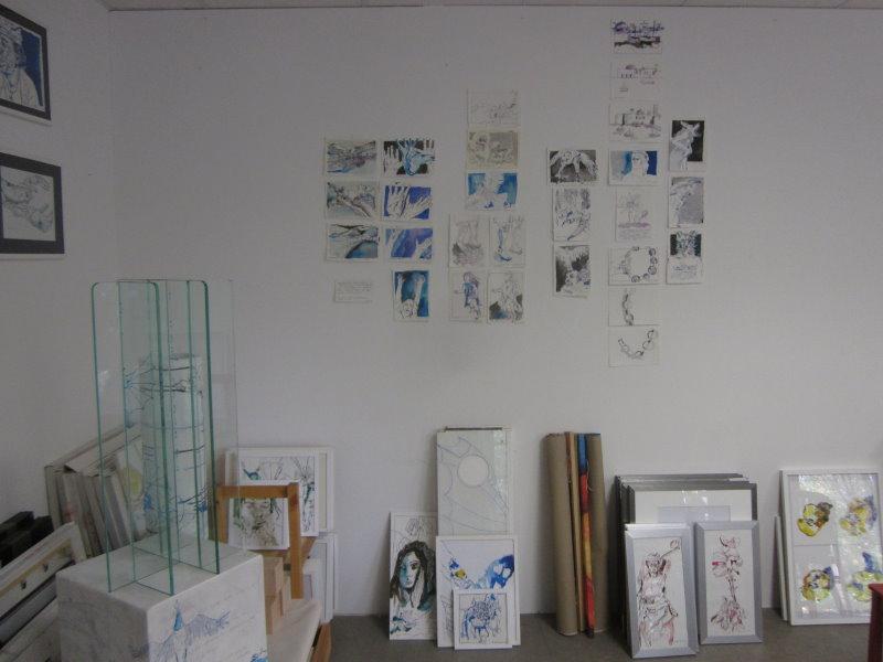 Ich habe meine Projektwand in meinem Atelier eingerichtet (c) Foto von Susanne Haun