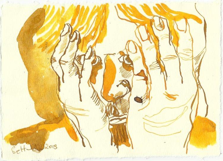 Blatt 84 Das Gesicht will ich mir mit Goldstaub einreiben (c) Zeichnung von Susanne Haun