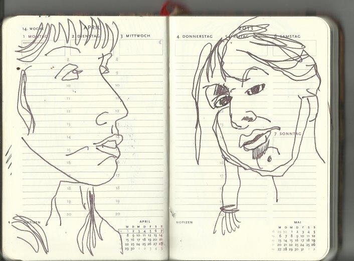 14. Woche Selbstportrait (c) Zeichnung von Susanne Haun