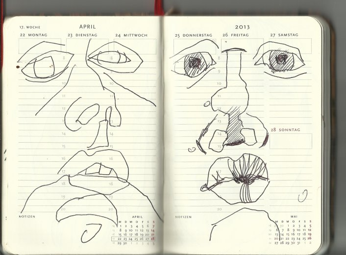 17. Woche Selbstportrait (c) Zeichnung von Susanne Haun