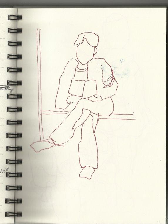 In der S-Bahn Vers. 1 (c) Zeichung von Susanne Haun