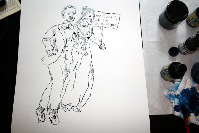Aus dem Leben von Lasalle (c) Zeichnung von Susanne Haun