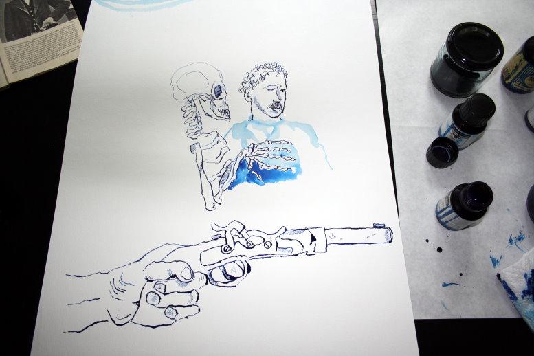 Duellpistole (c) Zeichnung von Susanne Haun